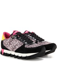 Dolce And Gabbana Glitter Suede Patent Leather Sneakers Multicoloured