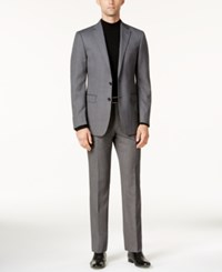 Calvin Klein Men's Slim Fit Black And White Textured Stretch Suit Black White