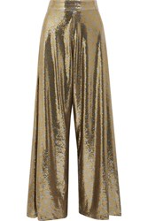 Johanna Ortiz Polka Dot Sequined Mesh Wide Leg Pants Gold