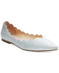Betsey Johnson Crosbey Scalloped Flats Women's Shoes Silver Sparkle