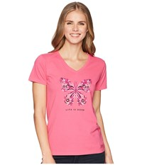 Life Is Good Wildflower Butterfly Crusher Vee Fiesta Pink T Shirt