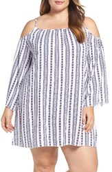 Elan Plus Size Women's Cold Shoulder Cover Up Tunic White Red Zuma