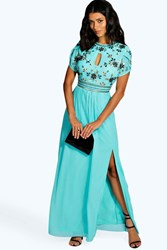 Boohoo Boutique Embellished Chiffon Maxi Dress Turquoise