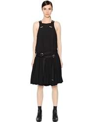 Diesel Black Gold Pleated Viscose Crepe Dress With Buckles