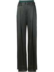 Ann Demeulemeester Belted Wide Leg Trousers Black