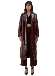 Valentino Long Patent Leather Coat Burgundy