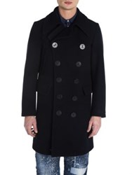 Dsquared Double Breasted Wool Blend Coat Navy