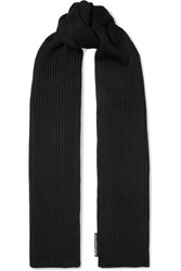 Alexander Wang Ribbed Merino Wool Scarf Black