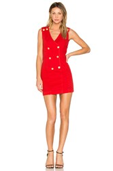 Balmain Double Breasted Dress Red