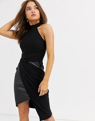 Lipsy High Neck Asymmetric Pencil Dress With Pu Inserts In Black