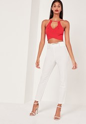 Missguided Eyelet Lace Up Hem Cigarette Trousers White