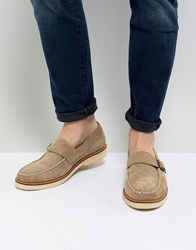 Farah Ramone Suede Monk Shoes With Chunky Sole Beige
