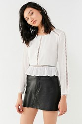 Urban Outfitters Uo Lace Inset Peplum Top White