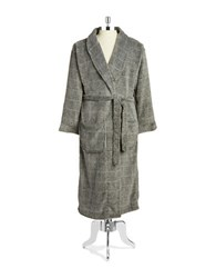 Black Brown Long Fleece Robe Charcoal