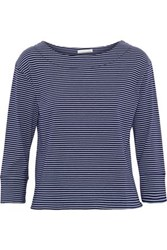 Skin Striped Modal And Cotton Blend Jersey Top Navy