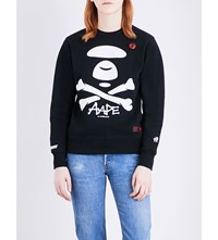 Aape By A Bathing Ape Skull And Cross Print Jersey Sweatshirt Black