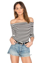 1.State Off Shoulder Striped Top Black And White