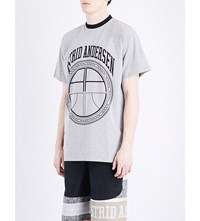 Astrid Andersen Aa Logo Stretch Cotton T Shirt Grey