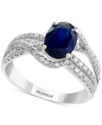 Effy Royale Bleu By Sapphire 1 3 8 Ct. T.W. And Diamond 3 4 Ct. T.W. Ring In 14K White Gold Blue
