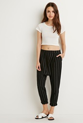 Forever 21 Pinstriped Harem Pants Black White