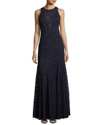 Vera Wang Lace Sleeveless Trumpet Gown Navy