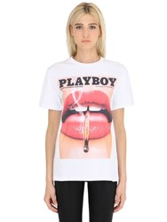 Playboy Lip Printed Cotton Jersey T Shirt