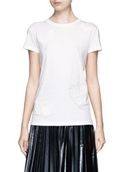 Valentino Beaded Butterfly Applique Cotton T Shirt White