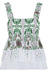 Tory Burch Shirred Printed Silk Georgette And Broderie Anglaise Cotton Top Green
