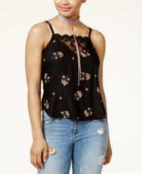American Rag Juniors' Lace Detail Floral Print Swing Tank Top Only At Macy's Black Combo
