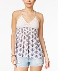 American Rag Crochet Printed Babydoll Halter Top Only At Macy's Egret Combo