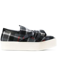 N 21 No21 Checked Bow Slip On Sneakers Grey