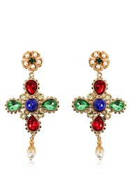 Dolce And Gabbana Cross Swarovski Clip On Earrings