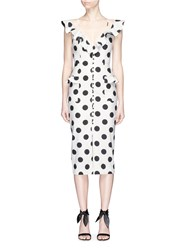 Nicholas Ruffle Polka Dot Cotton Linen Midi Dress Black White