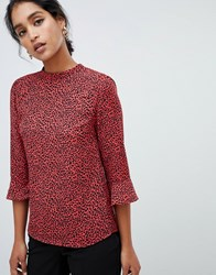 Oasis Blouse With Flute Sleeves In Red Leopard Print Multi Red