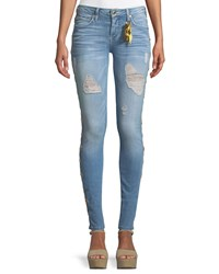 Robin's Jeans Marilyn Distressed Skinny With Beaded Embellishments Blue