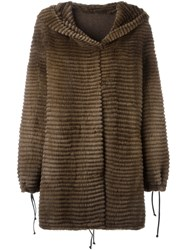 Liska Hooded Coat Brown