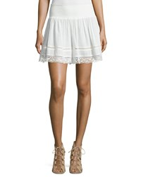 Rebecca Taylor Smocked Lace Trim Gauze Flutter Shorts Snow