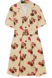 Adam By Adam Lippes Floral Print Belted Cotton Twill Dress Beige