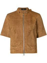Theory Cropped Sleeve Jacket Women Suede 6 Brown