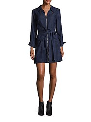 7 For All Mankind Zip Front Belted Denim Mini Dress Dark Empress
