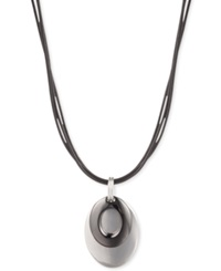 Jones New York Silver Tone And Light Hematite Tone Layered Pendant Coil Necklace