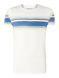 Wrangler Men's Retro Striped Short Sleeve T Shirt Off White