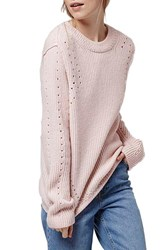 Women's Topshop Pointelle Ribbed Crewneck Sweater Light Pink