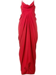 Rick Owens Ruched Evening Gown Red