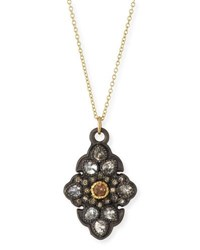 Armenta Old World Garnet And Diamond Scroll Pendant Necklace Gold