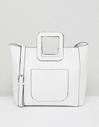 French Connection Tote Bag With Structured Handle And Detachable Across Body Strap White