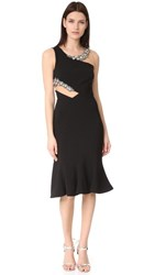 Marchesa Notte Cutout Beaded Cocktail Dress Black