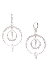 Nadri Women's Gwen Crystal Hoop Drop Earrings Silver