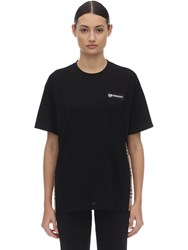 Burberry Jersey T Shirt W Checked Side Bands Black