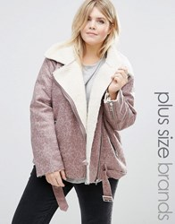 Alice And You Faux Shearling Aviator Jacket Purple